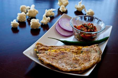 punjabi: Punjabi stuffed parantha with cauliflower