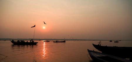 varanasi: Sunrise in Varanasi, India Stock Photo