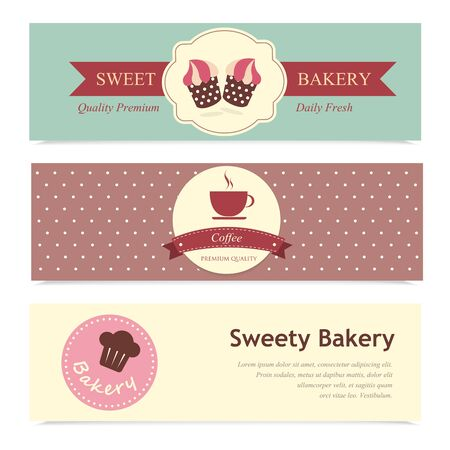 Set of bakery label Vector