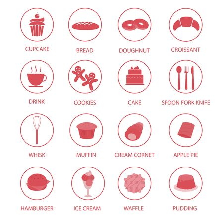 swiss roll: Set of bakery icon Illustration