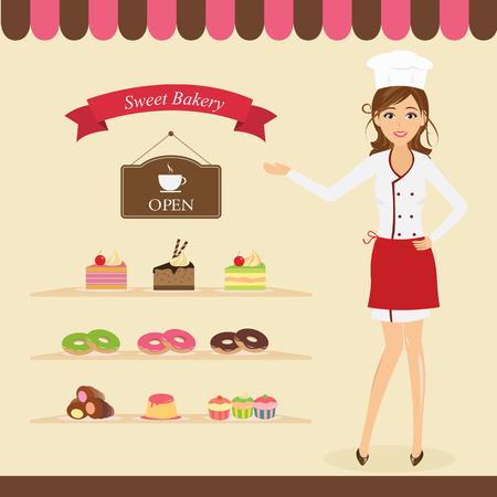 pudding: Bakery shop Illustration