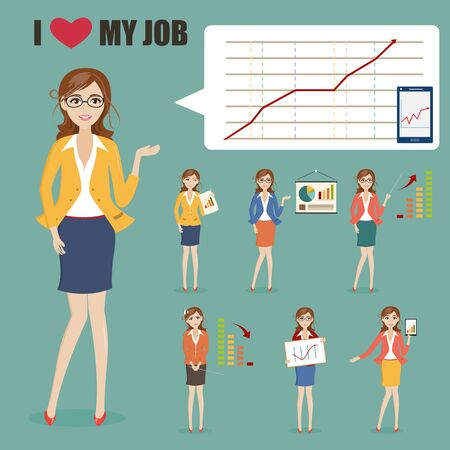 charactor: set of businesswoman charactor with graph