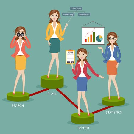 charactor: set of businesswoman charactor on marketting Illustration