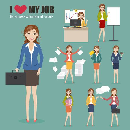 charactor: set of businesswoman charactor at office Illustration