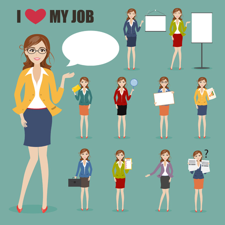 charactor: set of businesswoman with job charactor Illustration
