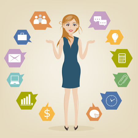 charactor: set of businesswoman charactor with icon