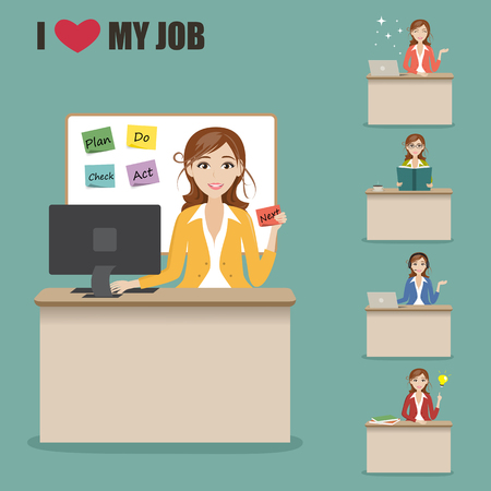 charactor: set of businesswoman charactor at office desk Illustration