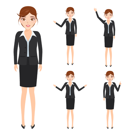 business woman character at office work. people character. Illustration