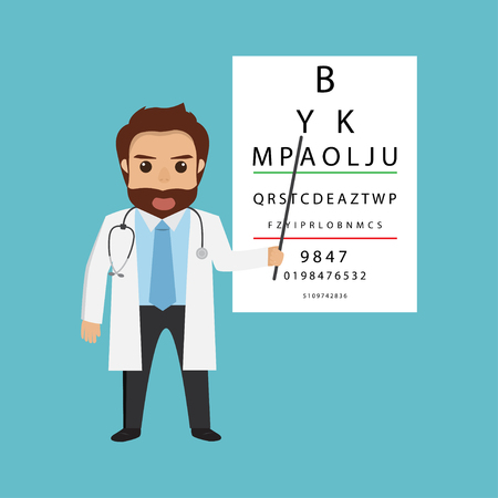 A handsome man doctor character- optometrist points to the table for testing visual acuity Illustration