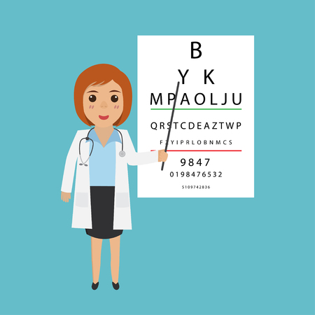 Woman doctor character- optometrist points to the table for testing visual acuity