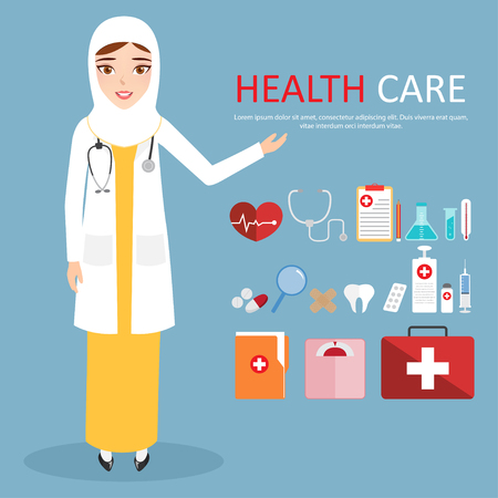 oculist: Muslim Woman Doctor Wearing White Veil or Scarf with Welcoming at hospital. Illustration