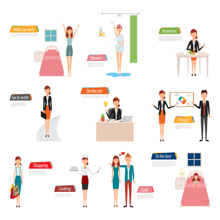 workday: Daily routine of business people character. Woman life style in flat design vector.