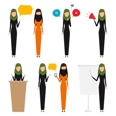 ocupation: Arab business woman with job.