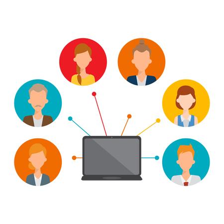 Comunicación de redes sociales en la red informática. Ilustración de vector