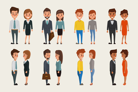 Group of business men and business women standing character. People character vector design.