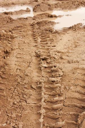 wheel tracks on dirt  photo