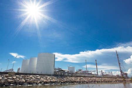 liquefied: Large natural gas storage tanks