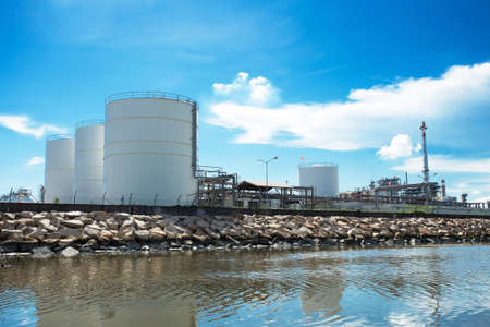 Large natural gas storage tanks photo