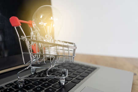 Light bulb in a trolley on a laptop keyboard. Ideas about good ideas online shopping, online shopping is a form of electronic commerce that allows consumers to directly buy goods from a seller over the internet.