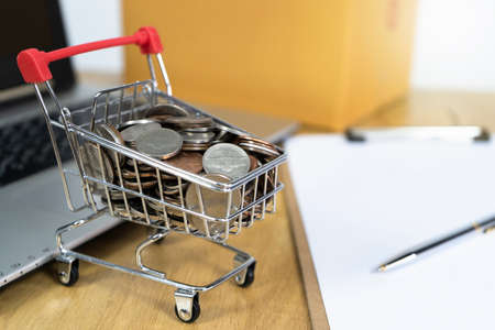 Coin in a trolley on a laptop keyboard and contract. Ideas about online shopping