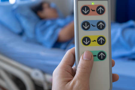 Hospital bed remote control And patients on the bed