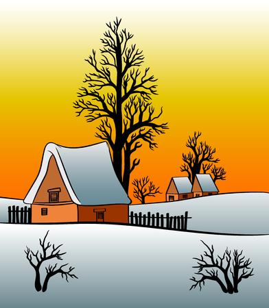 Winter landscape cottage house at sunrise