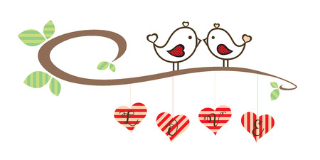 Valentine Loving Birds stay on branch retro Illustration