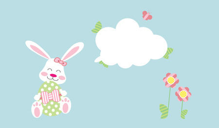 Easter Bunny girl with egg under message cloud
