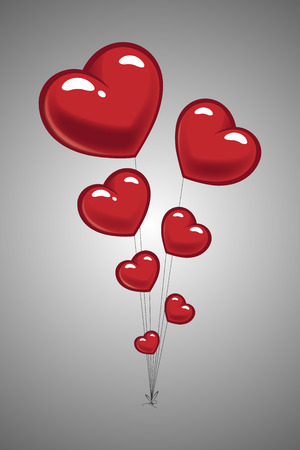 Valentines Day greeting card with Heart Balloons Illustration