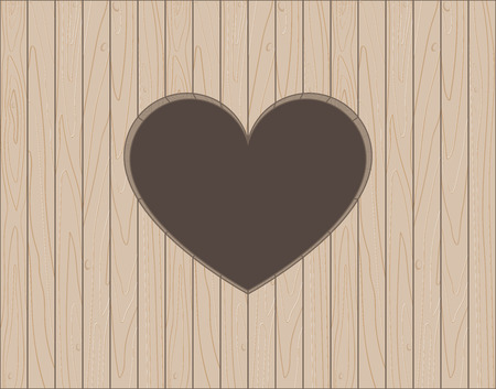 Wooden background with heart shape hole