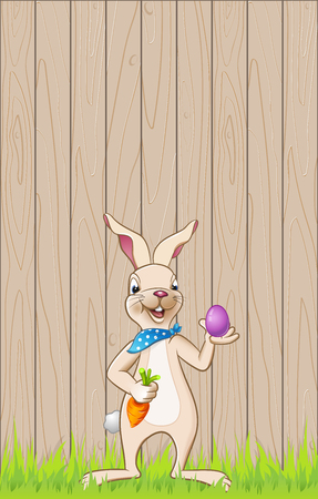 Easter bunny in front of wooden background