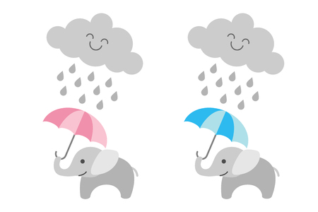 Cute baby elephant under rainy cloud - girl and boy Vector illustration.