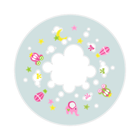 Its a Girl baby decoration around cloud - stars carriage elephant balloons - text place Vector illustration. Иллюстрация