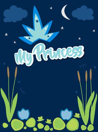 My Princess, text above swamp plants at night. Illustration