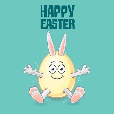 Easter bunny get out of egg with smile face - happy easter text