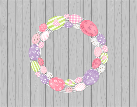 Easter eggs wreath hanging on Wooden rustic background Vector illustration.