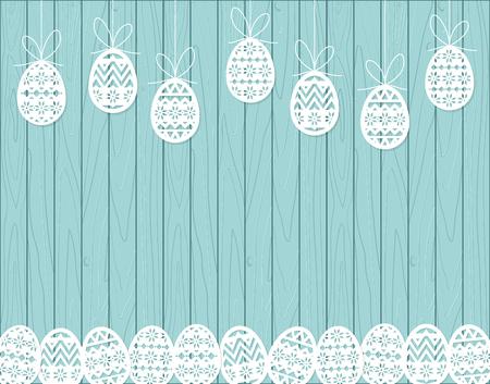 Paper cut Easter eggs hanging on blue Wooden background Vector illustration.