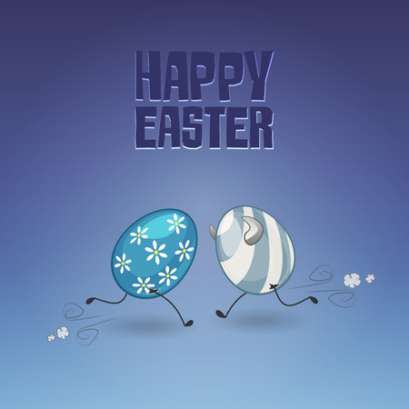 Easter eggs will strike one another and break up - happy easter text Çizim