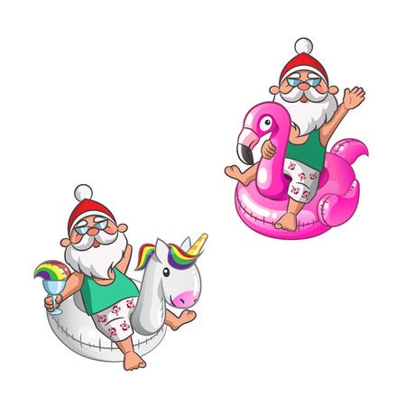 Santa Clauses with Unicorn and Flamingo swim rings on summer vacation