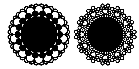 Doily decoration set vector illustrations
