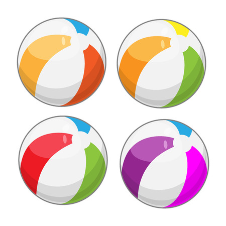 Beach balls in four different colors - cartoon style