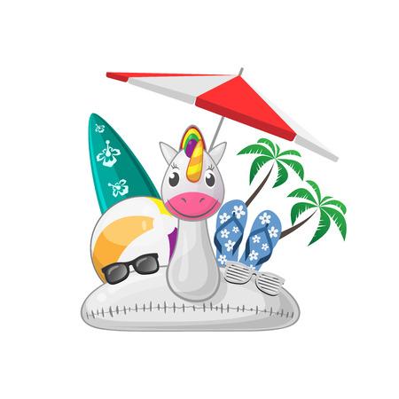 Summer beach set with unicorn swim ring beach ball surfboard flip flops sunglases parasol