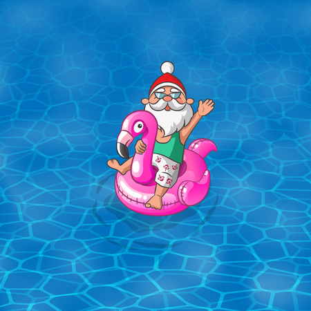 Summer illustration - Santa Claus with Flamingo inflatable float sail along the sea