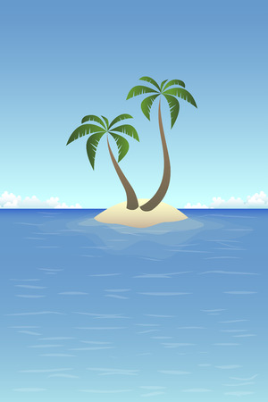 Summer background - sandy island in the ocean with palms