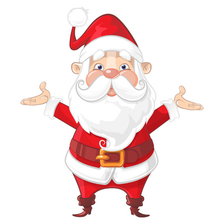 Cute Santa Claus with bag - front view cartoon style