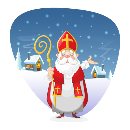 Saint Nicholas standing in front of winter background illustration Stock Illustratie