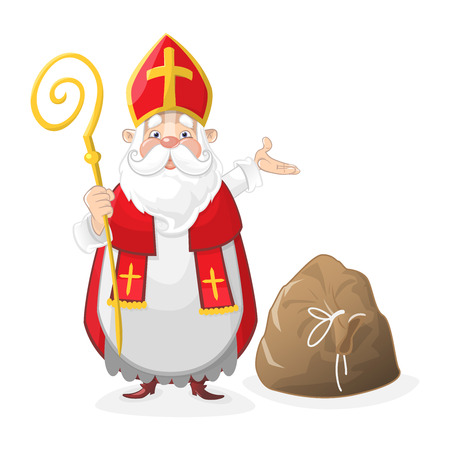 Cute Saint Nicholas cartoon character with gift bag on the floor
