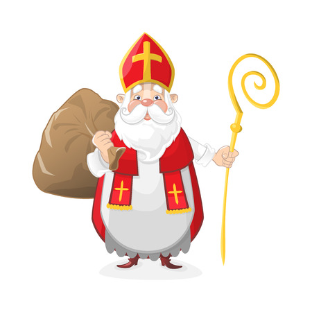 Cute Saint Nicholas with gifts in bag - cartoon character