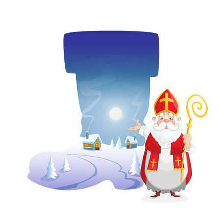 Illustration winter landscape at night in form of boot with cute Saint Nicholas