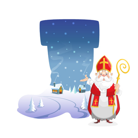 Illustration winter landscape in form of boot with cute Saint Nicholas Illustration
